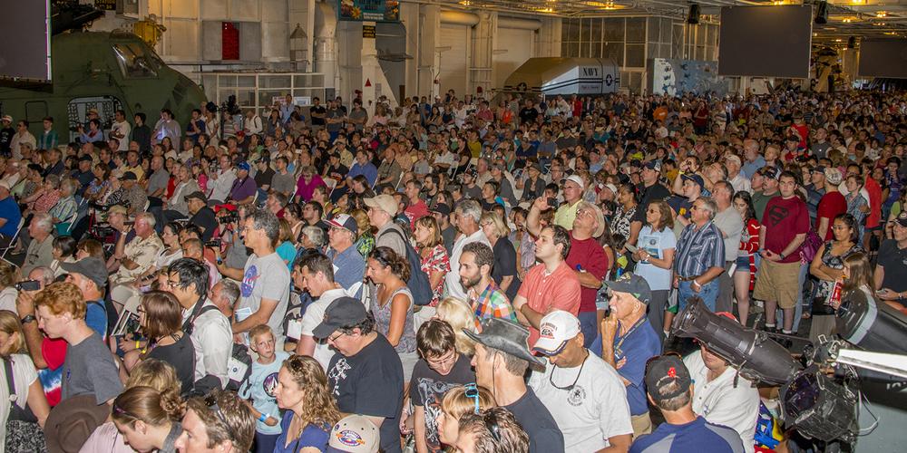 A sea of visitors in Hangar Bay 3