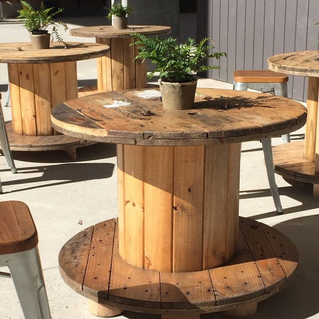Year 9/10 Design and Technology students took up the challenge to take recovered reels from the building site and repurpose them into cafe tables for Central Park. Pot plants were also added with help from the Year 4 garden club. The tables are now in place next to the cafe.