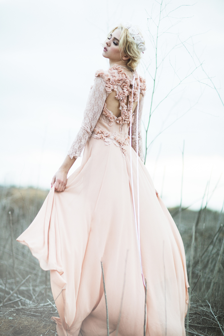 Dusty Rose Floral Georgette Gown