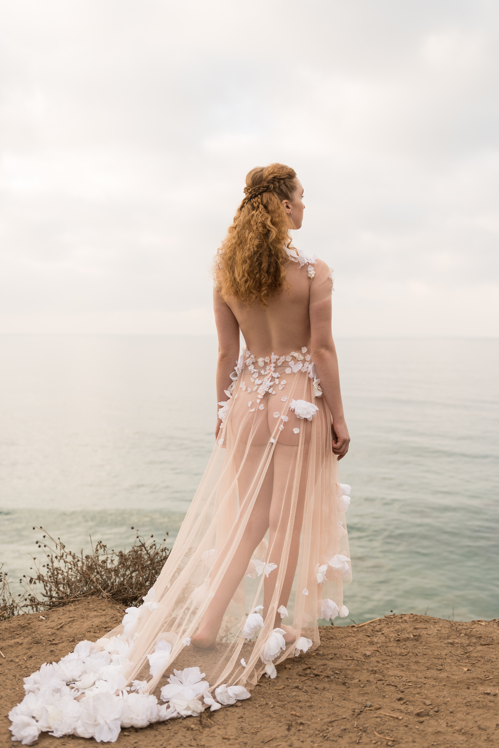 Sheer Blush Peony Applique Gown
