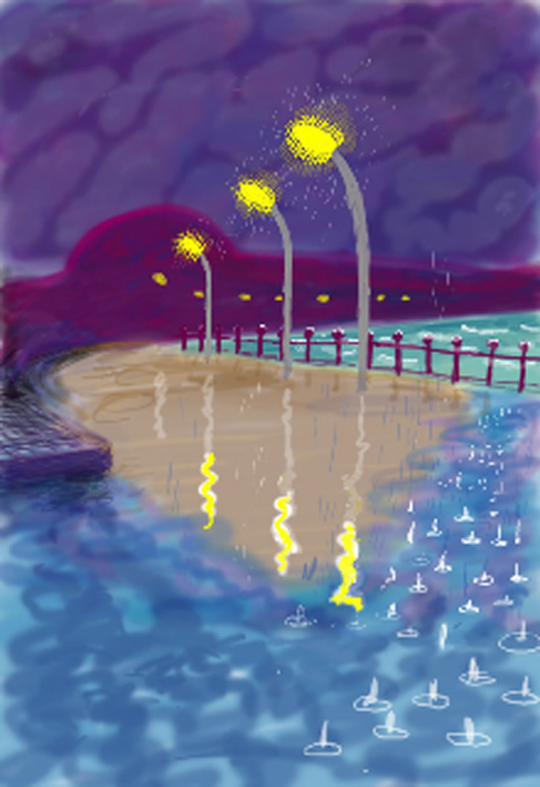 David Hockney, Rainy Night on Bridlington Promenade, 2008