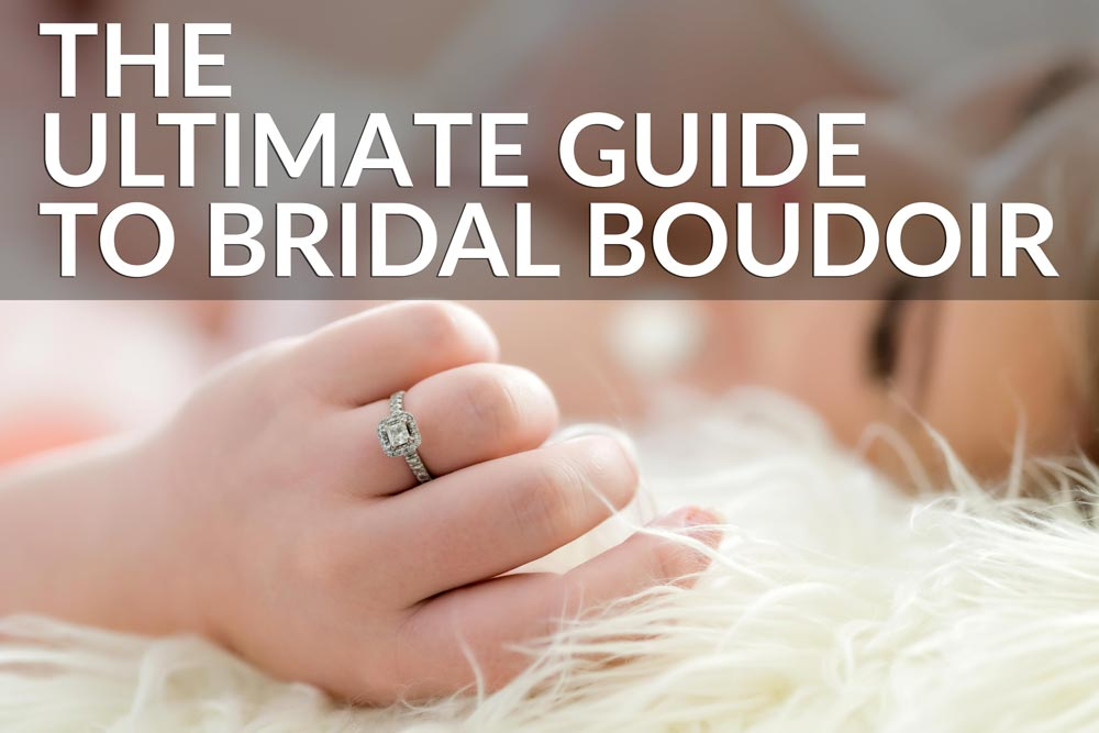 Bridal boudoir photo with engagement ring