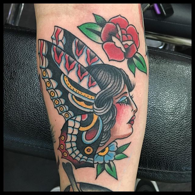#theamericantradition by @rjhitchcock #sacramentotattoos #midtownsac #tatsacto #butterflytattoo