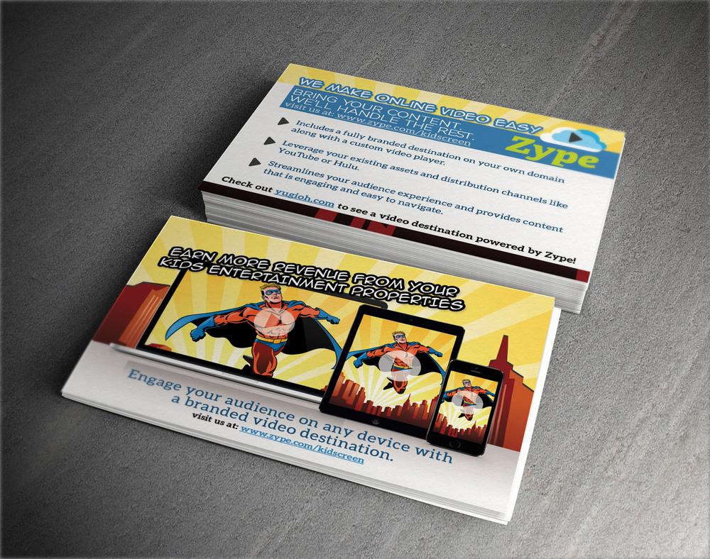 Postcard handout design for  Zype  - American based video platform business.