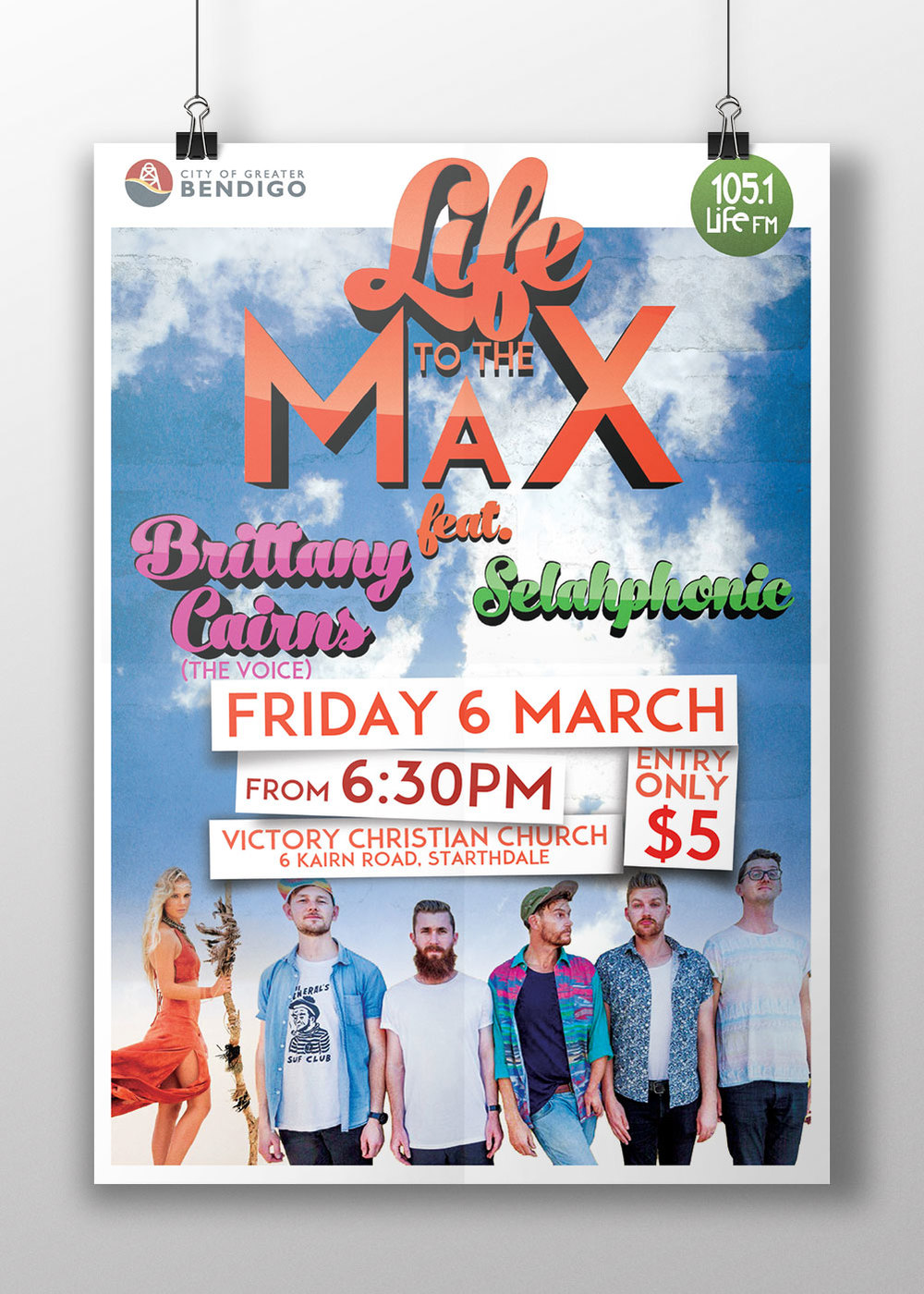 Music concert poster for Life 105.1 FM,
