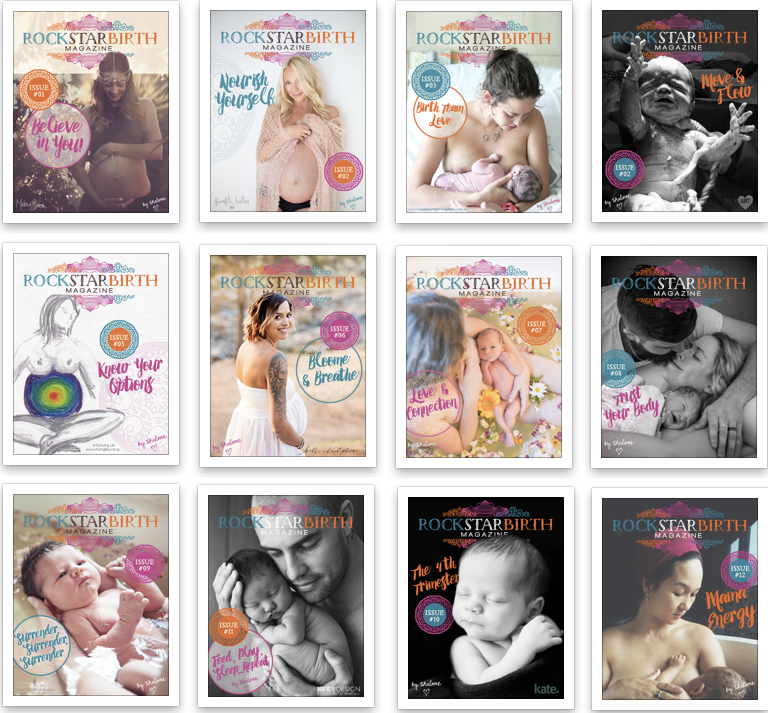 Magazine covers for 12 issues of Rockstar Birth Magazine.