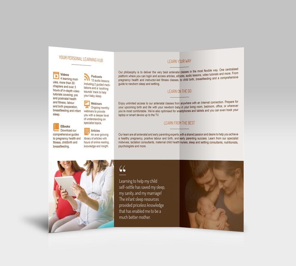 Bi-fold brochure for Nourish Baby.
