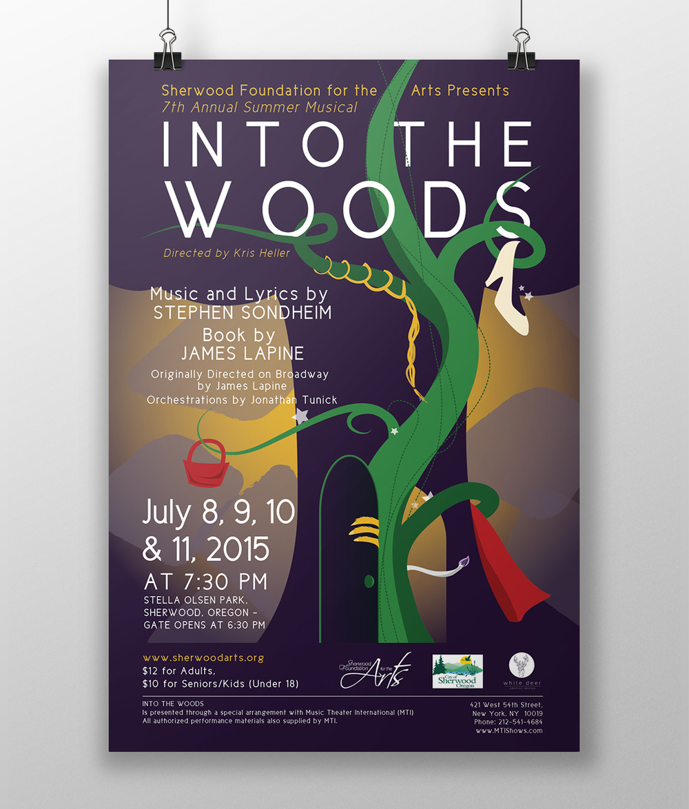 Promotional Poster for Sherwood Foundation of the Arts musical production of Into the Woods.