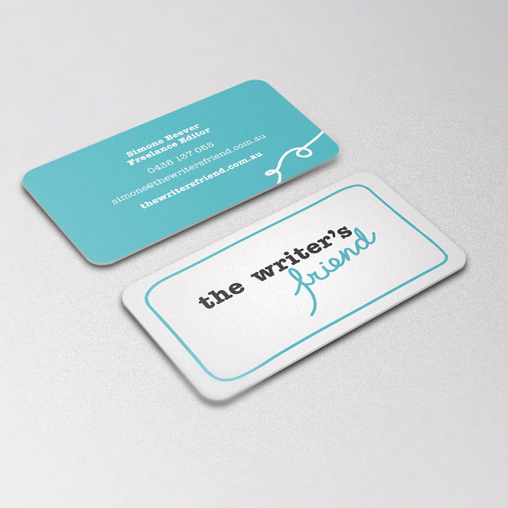 Rounded business card design for The Writer's Friend.