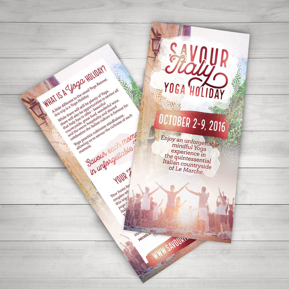 DL flyer design for Savour Italy Yoga Holiday.