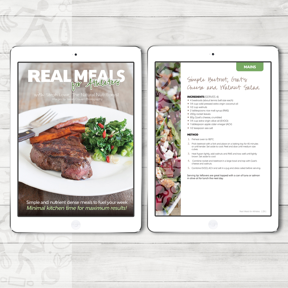 "eBook design for The Natural Nutritionist's ""Real Meals for Athletes""."