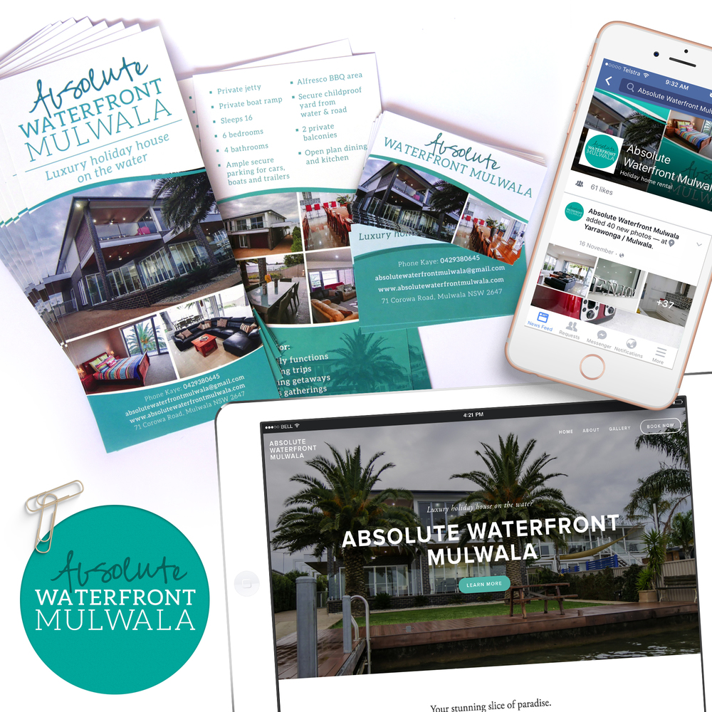 Flyer, website, business card and logo design for Absolute Waterfront Mulwala.