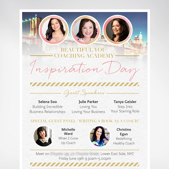 Flyer for Beautiful You Coaching Academy New York event.