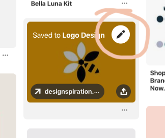 """Step 8 - This is an optional step for if you'd like to add any notes/caption to the image. After you have pressed """"save"""" a little pencil icon will appear. If you click on this you have the chance to edit the pin. You can change the description, board or section.Repeat the above steps 5-8 until you have filled your board to your satisfaction."""