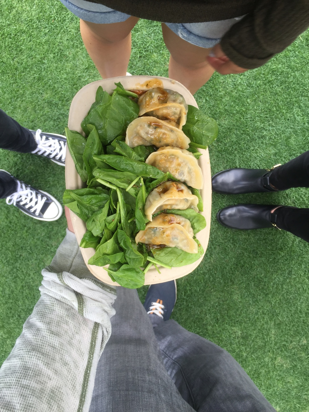 Bling Bling dumplings @blingdumplings Had these yummy veggie dumplings served on a bed of spinach, SO GOOD!!!
