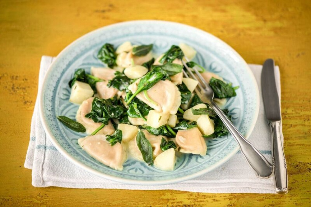 Butternut Squash Agnolotti with Apples, Spinach, and Sage-Brown Butter Sauce