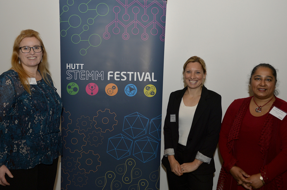 Kate McGrath, Director of the MacDiarmid Institute, Professor of Chemistry, Director of Callaghan Innovation, Chair of the Board at VicLink; Sonja Bermudez, Paleontology Technician at GNS and Forensic Scientist; Baljinder Devgun, Executive Member of the Association for Women in Science, Branch President for the United Nations Association of NZ, and CEO of the Global Women & Girls Empowerment Charity - photo credit Photowellington.