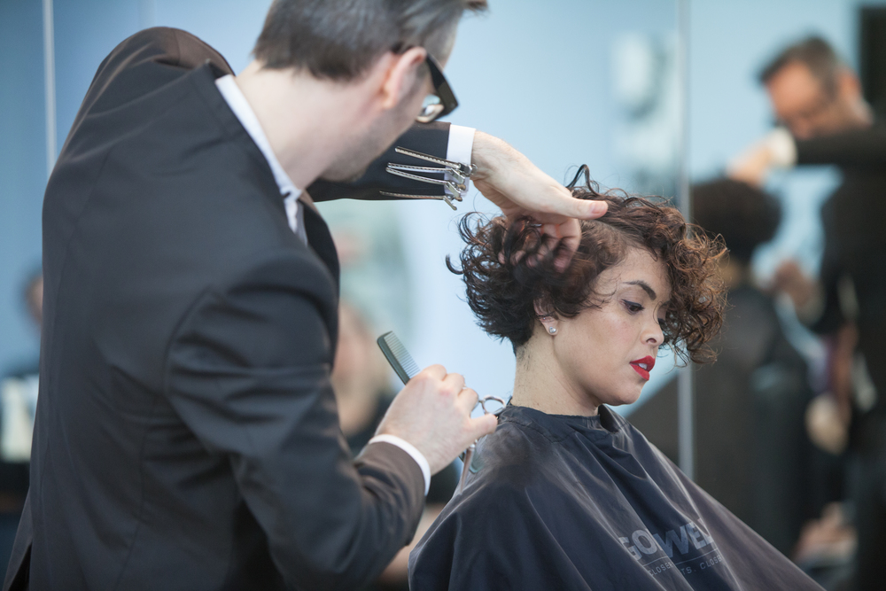 """""""It's about cross checking, not cross cutting"""" Jeremy Davies-Barbala cutting an asymettric bob on model Kate K."""