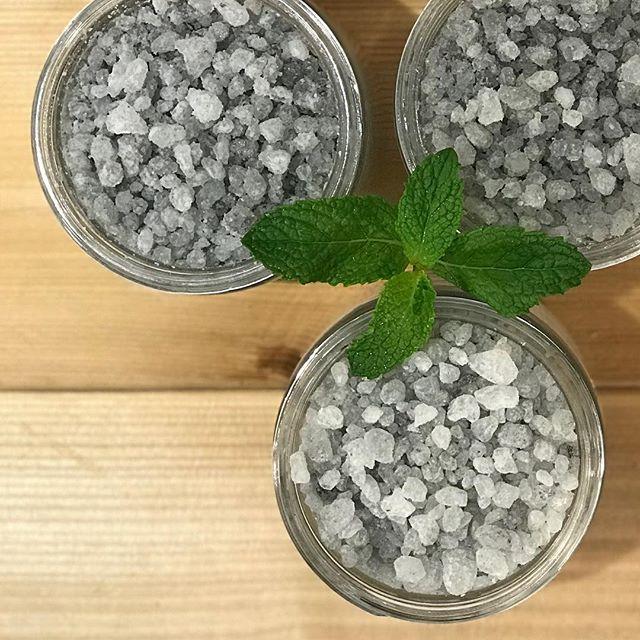 Dead Sea Salt Soaks. Mint + Cedarwood • • #mint #cedarwood #deadsea #salt #soaks #clay #soapshare #bath #madeinmanitoba