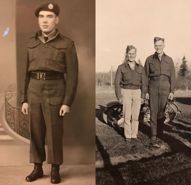 Left photo- Ingimar (Ingi) Danielson born in Arborg, MB on September 8, 1918. He attended the Bjarmi and Ardal schools. It was farming which would become his life's work. Ingi enlisted on June 15, 1942 and served in the Royal Canadian Army in both Canada and Alaska. On June 1,1945 Ingi along side the Winnipeg Rifles shipped out to Europe and he served in the Netherlands and Germany. He returned to Canada exactly one year later and was discharged from the Army on February 4, 1946. After the War Ingi raised cattle and grew grain. He enjoyed a peaceful life at Brekka just three miles north of Arborg, MB • • Right photo (right man)- Norman Soffanias Danielson was born on December 21, 1921 in Arborg, MB. He attended Bjarmi School and later Musker Engineering Institute in Winnipeg. Norman worked at Danielson Auto Serivce at Arborg and in the family farm and during the winter months the Danielson Sawmill. Norman enlisted in the Canadian Army and trained at Barriefield, ON. While at home on leave he died at the age of 24 on November 12, 1945 as a result of a tractor accident and never saw battle but wanted to serve his country. • • #remember #lestweforget