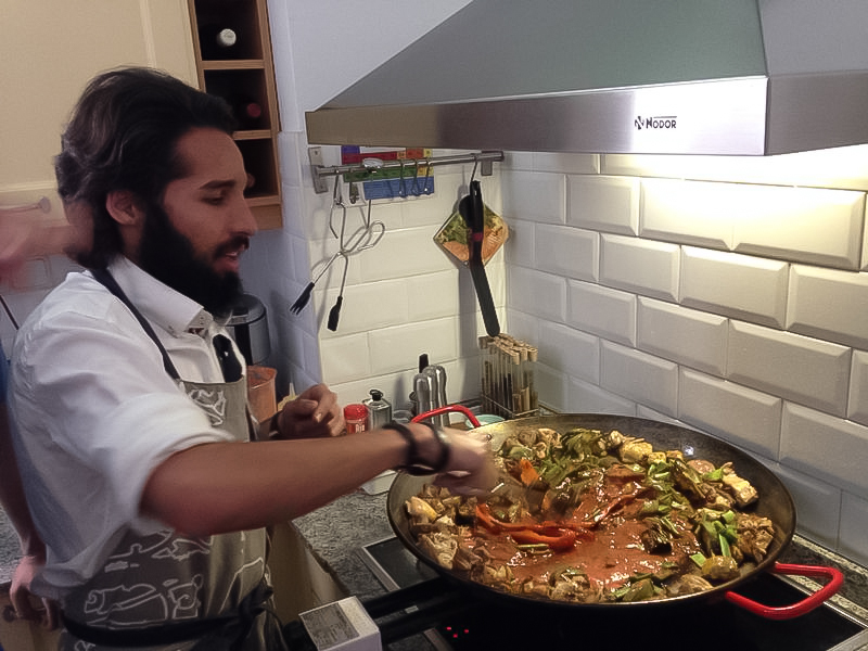 Our kind host cooking Delicious Paella