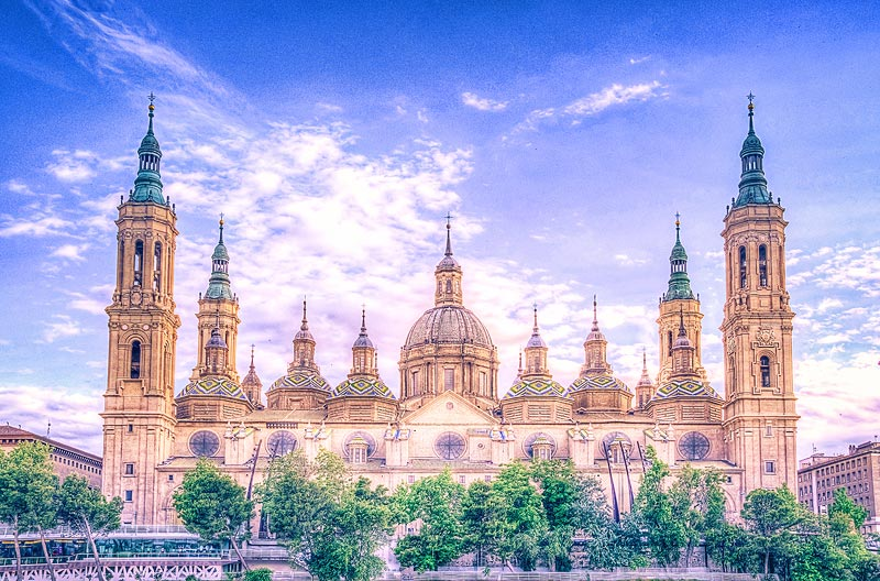 The Basilica of Our Lady of the Pillar -  a spanish hulking baroque wonder -   Zaragoza