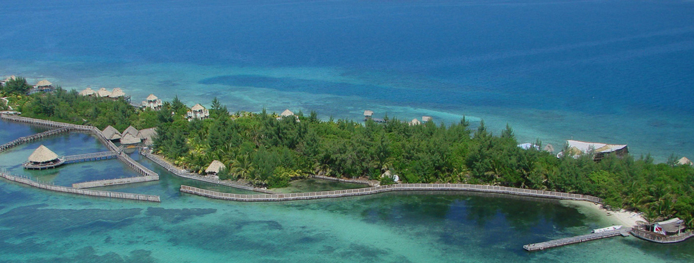 Arial View of Thatch Caye Resort
