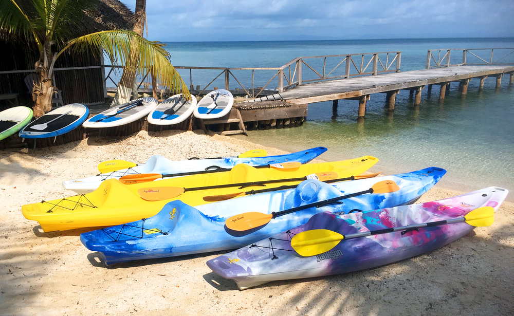 Kayaks & Stand Up Paddle Boards - Standup paddle boarding on the turquoise water is magic! Discover the quiet and calm of Thatch Caye Resort surrounded by shallow water… just you, your stand up paddle board or kayak and nature. Here, you can explore the reef, and even meet stingrays, sea turtles and barracuda. Your sea kayak journey can take you places that few other people have a chance to experience.Included with any package purchase.