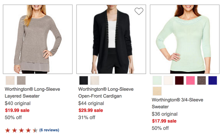 Worthington sweaters were mentioned in the dispute with J.C. Penney. J.C. Penney / Via jcpenney.com