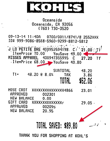 This receipt and its listed savings are included as evidence in one of several cases brought against Kohl's. Wendy Chowning v. Kohl's / Via CourtLink