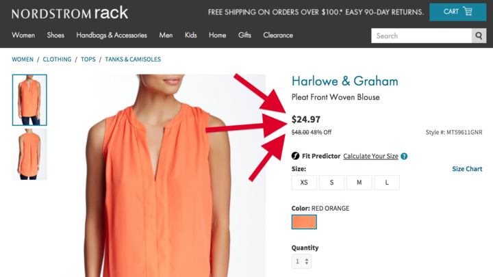 This blouse, at $24.97, is advertised as 48% off from $48. But that original price could mean a few different things. Nordstrom Rack / Via nordstromrack.com