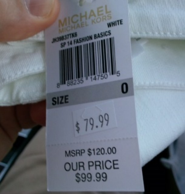 "An image from the lawsuit against Michael Kors questioned the MSRP vs. ""Our Price"" labeling on made-for-outlet items. Michael Kors / Via tzlegal.com"