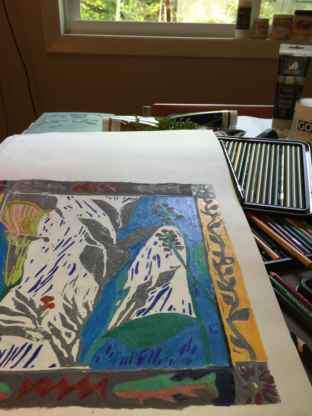 hand colored block print in process