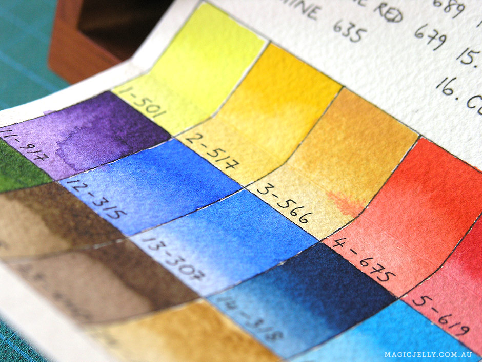 I made a colour chart for my watercolours.