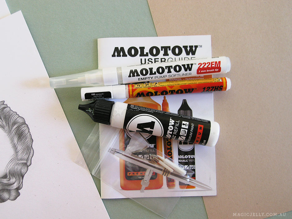 "These Molotow markers are amazing! I bought two; a 1mm fine tip, and a 1mm brush tip ""Softliner"", along with a couple of spares (the tips are replaceable) and some refill paint. I was only interested in white because I wanted to use them to add details to monochrome ink drawings, but they come in a range of colours. What's so great about Molotow markers is that instead of ink, they hold acrylic paint that although quite thin, has incredibly dense pigment - the white is truly opaque. They have a pump action (but beware of over doing it and causing the paint to flood) and absolutely amazing flow. They're refillable, and you can mix and/or dilute the colours. A couple of downsides... The paint takes a little while to dry (especially on non-porous surfaces) so you do need to be careful not to smudge your work, and you also have to be careful the tips don't dry out and become clogged. Some people recommend soaking blocked tips in acetone, but I just rinse them in water after each use and let them dry thoroughly (this takes a few days, so if you plan to use them again in the immediate future, best to leave the tips in but make sure the caps are properly sealed). They write on a huge range of surfaces, and all in all are very versatile and totally nifty. Whatever will they think of next?!"