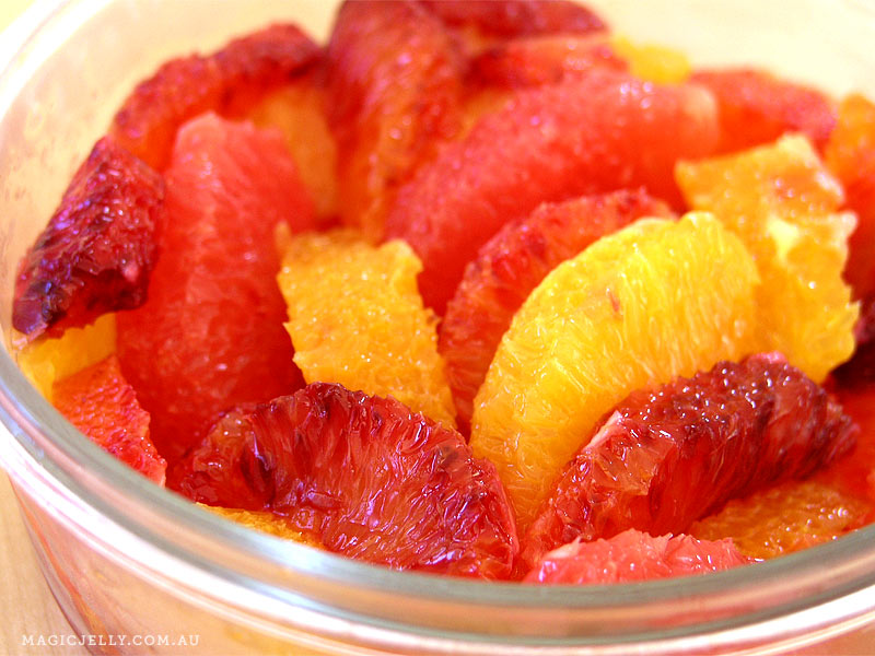 Citrus salad with navel and blood oranges and ruby grapefruit.