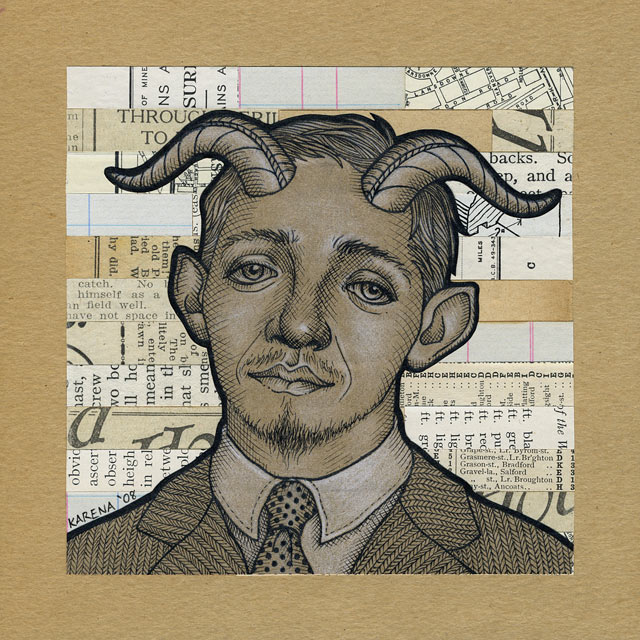 Pan Drives a Volvo Ink & Pencil drawing & Collage. 6x6""