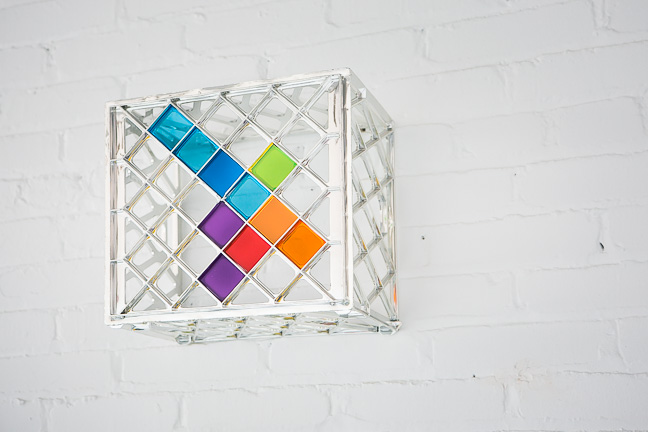 "Inlay  12"" x 12"" x 12""  Chromed milk crate, plexiglass"