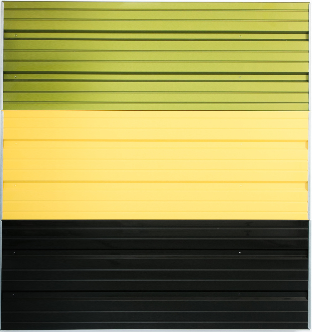 "Armagideon Time  60"" x 60"" x 2""  Garage door, automotive paint"