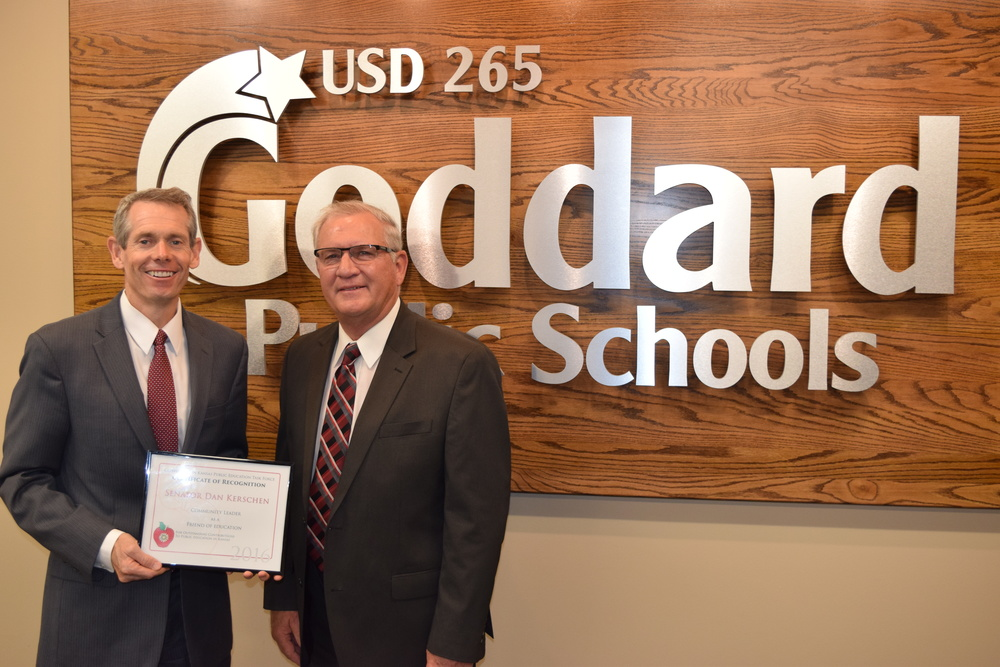 In April, I was honored to be awarded the 2016 Friends of Public Education Award by the Confidence in Kansas Public Education Task Force. This just affirms my commitment to ensure the nearly 500,000 Kansas public education students receive the very best education they deserve. I want to commend the countless teachers and educational professionals who continue to invest their time in our students, the future of Kansas, and I am glad to support our local communities in these efforts.