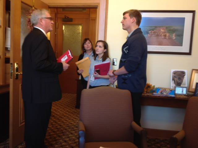 Enjoyed visiting and receiving SAFE information from Tanner Congleton and Ally Rakestraw, Eisenhower High School students, along with their instructor, Crystal Simmons, in my office. Seatbelts Are For Everyone (SAFE) is a teen run, peer to peer program that focuses on increasing teen restraint compliance through education, positive rewards, and enforcement. It is designed to bring awareness to the importance of wearing seatbelts. Great work is being done by these enthusiastic students! For more details visit SAFE at   www.seatbeltsareforeveryone.org.