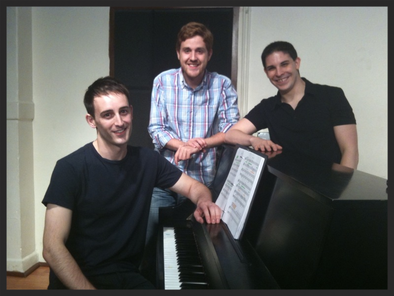 Joe, Kellen, and Me rehearsing for the first reading of Murder for Two!