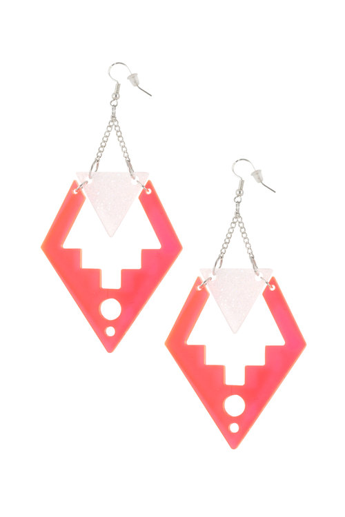 rose pink neon earrings drop fluorescent