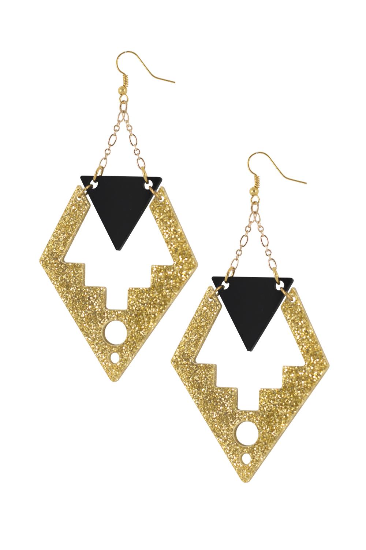 Deco Drop Earrings Black & Gold Glitter - Easy Tiger Designs - Sea Dragon Studio.JPG