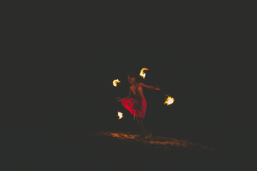 fire dancers rarotonga