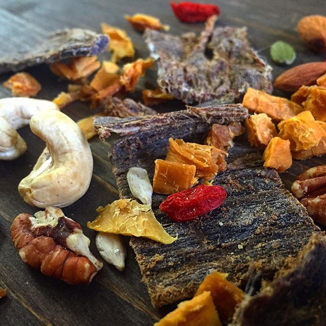 As simple as this. 100% grass-fed beef. Nuts. Seeds. Naturally dried fruit. Superfoods. Nothing else. 🤘 #wheredoyoukooee #jerkytrailmix #realfood