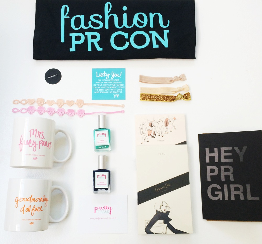 Our Fashion PR Confidential swag bags with treats upon treats!