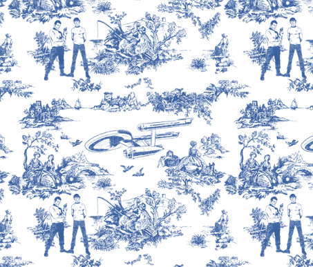 'It's life Jim, but not as you know it' Star Trek toile fabric by Debbie Birkin on Spoonflower.