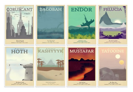 Retro Star Wars travel posters, available from TeacupPiranha on Etsy starting at $6.99