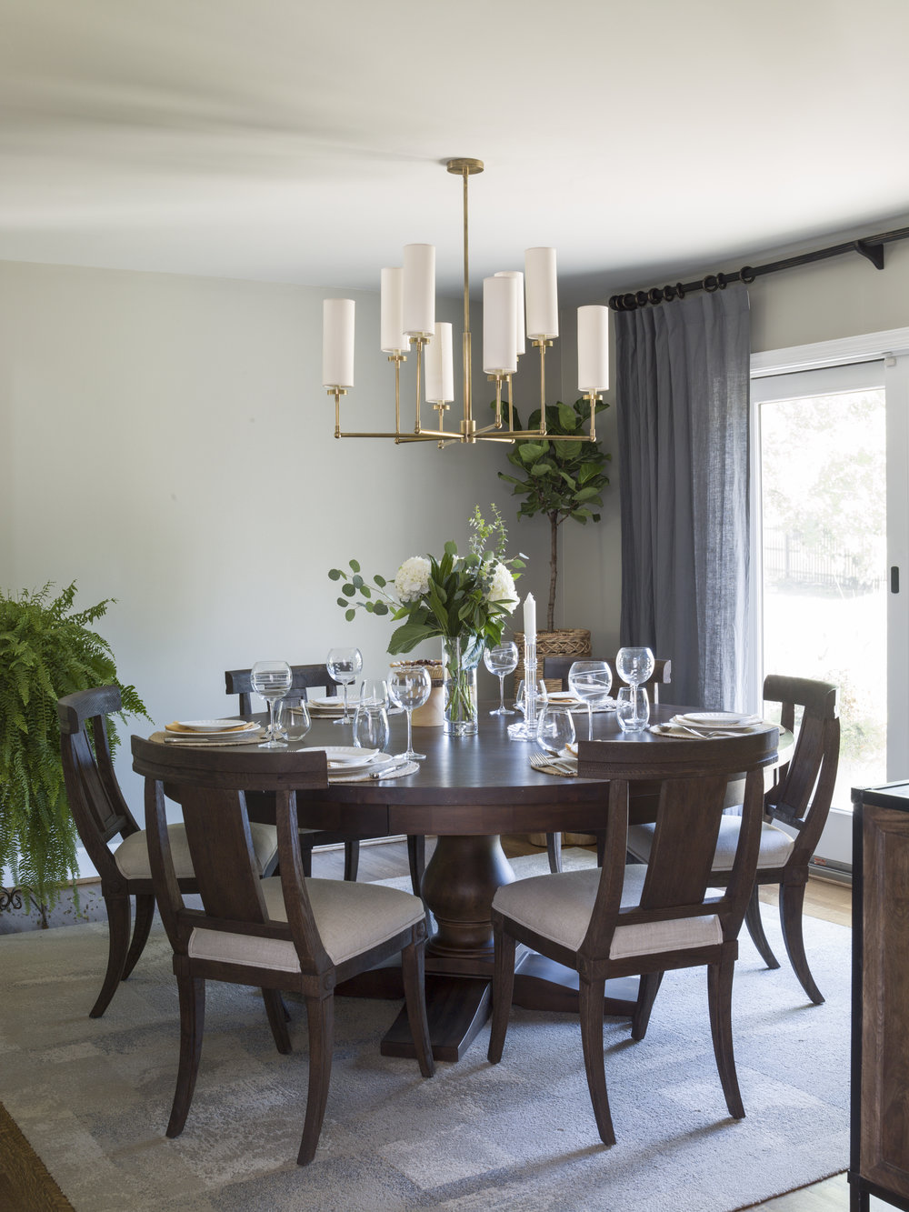 "The dining room - the 72"" round table can seat eight comfortably, even in a tight space."